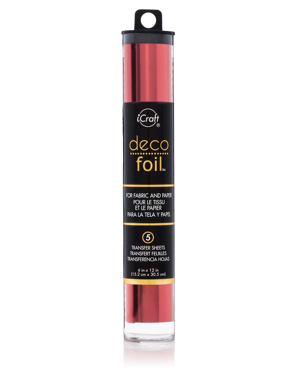 "iCraft Deco Foil 6"" x 12"" (15 x 30cm) x 5 Sheets per Tube - Red"