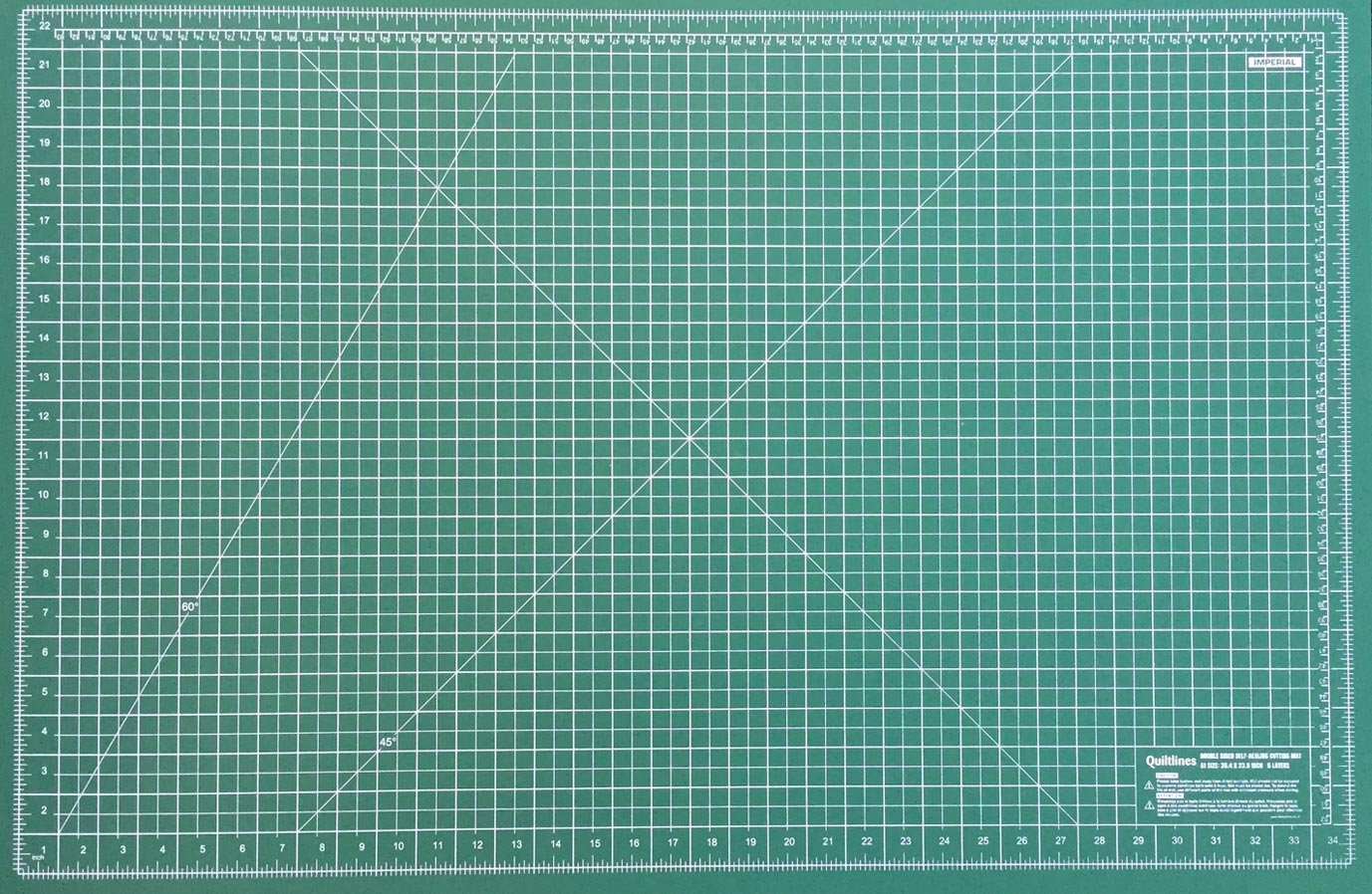 "Size A1 Double Sided Self Healing Cutting Mat with 5 Layers Imperial & Metric Size 36 x 24"" (60 x 90cm) by Quiltlines"